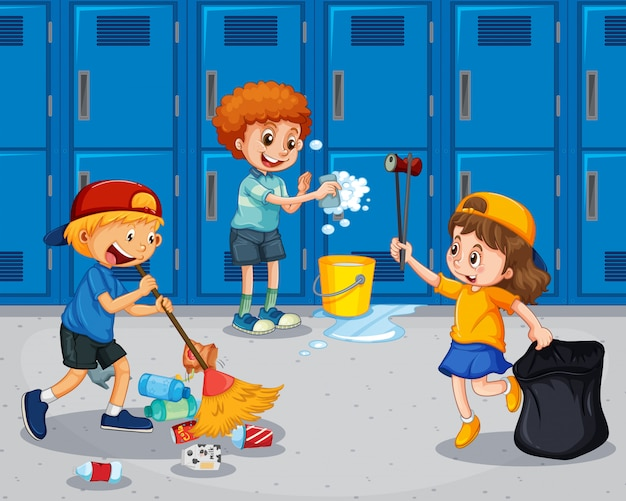 Student cleaning the hallway Premium Vector