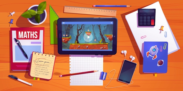 Student desk top view, teenager home workplace table with studying stationery tablet with computer game Free Vector