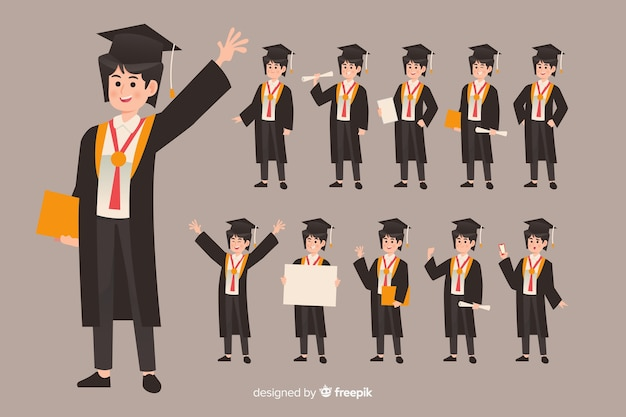 Student doing different actions Free Vector