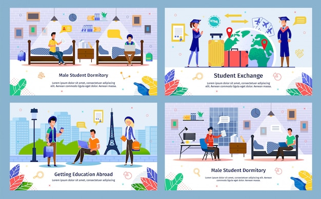 Student exchange, abroad education  banners Premium Vector