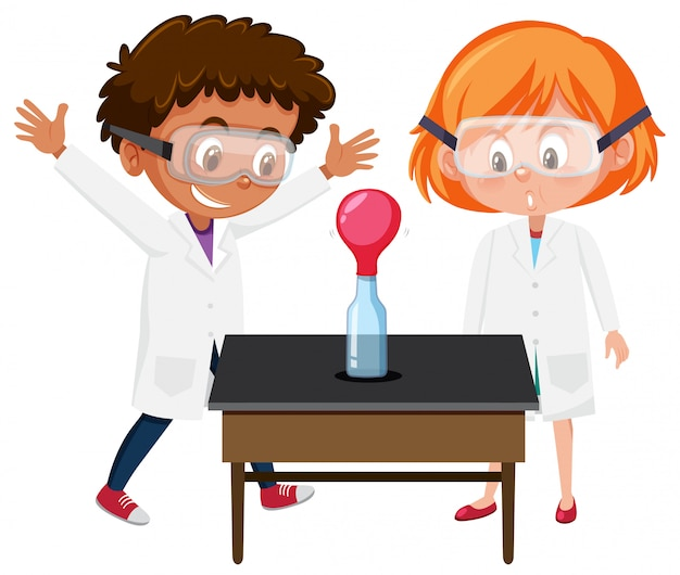 Student experiment on white background Premium Vector