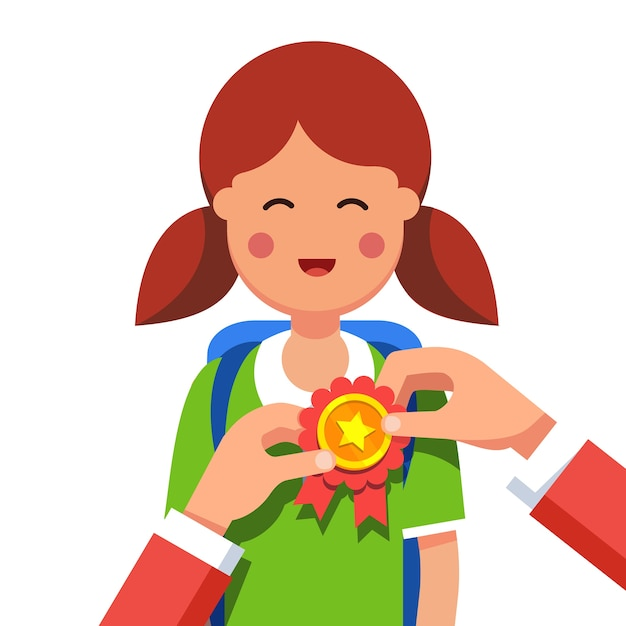 Student girl being awarded for win at school fair Free Vector