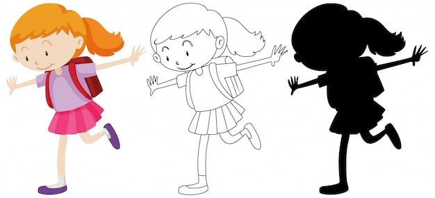 Student girl happy in colour and outline and silhouette Free Vector