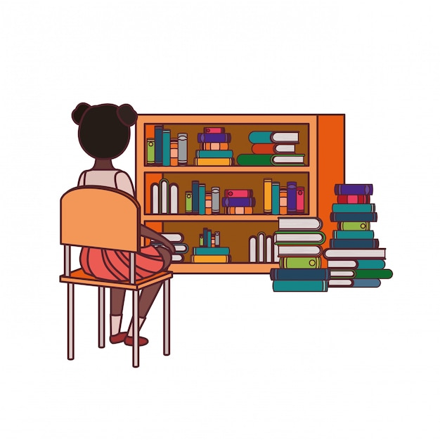 Student girl sitting his back on chair Free Vector