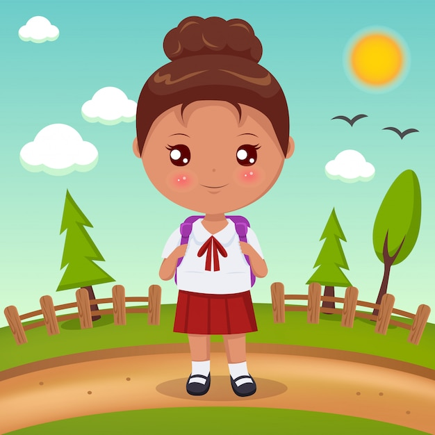 Student girl with brown hair Premium Vector