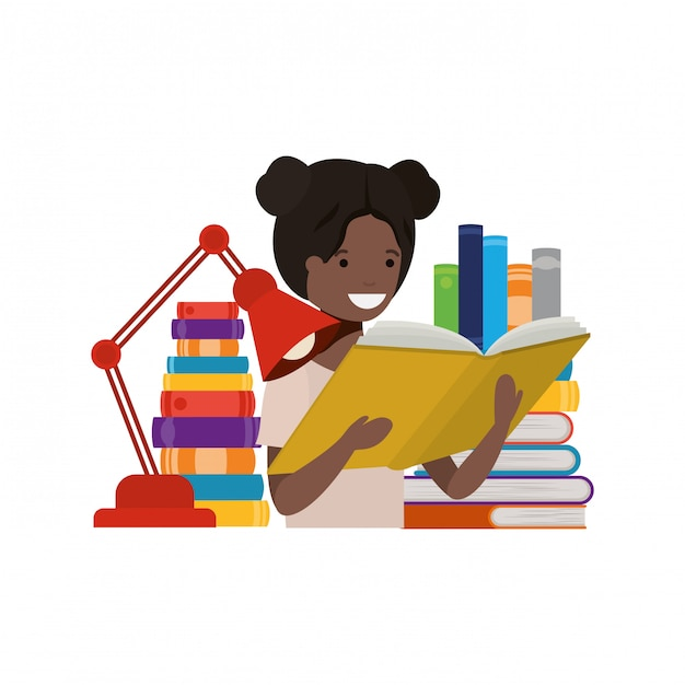 Student girl with reading book in the hands Free Vector
