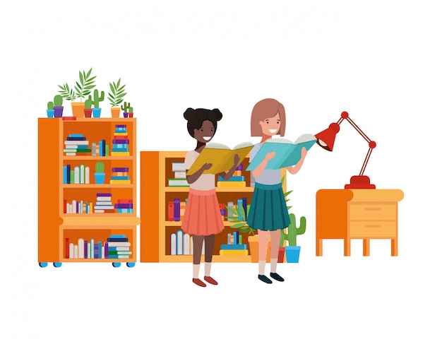 Student girls with reading book in the hands Free Vector