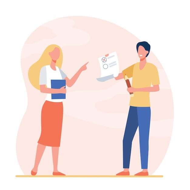 Student giving test to teacher. intern, tutor, examinee. cartoon illustration Free Vector