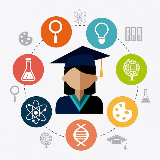 Student graduation design Free Vector