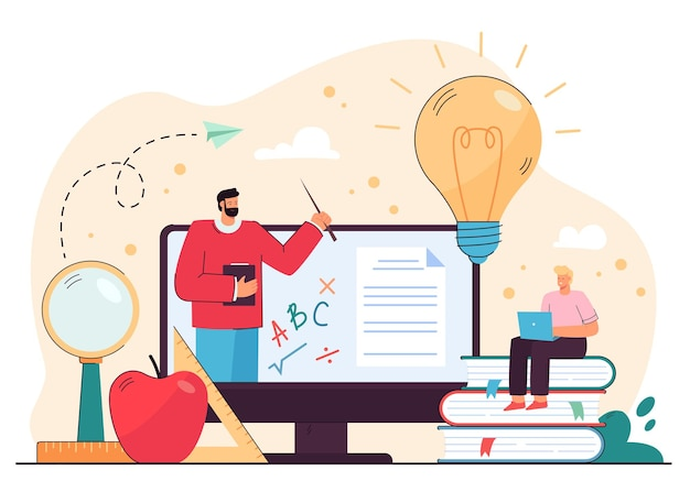 Student guy studying on internet, watching online lecture on computer, talking to math tutor through video call.  cartoon illustration Free Vector