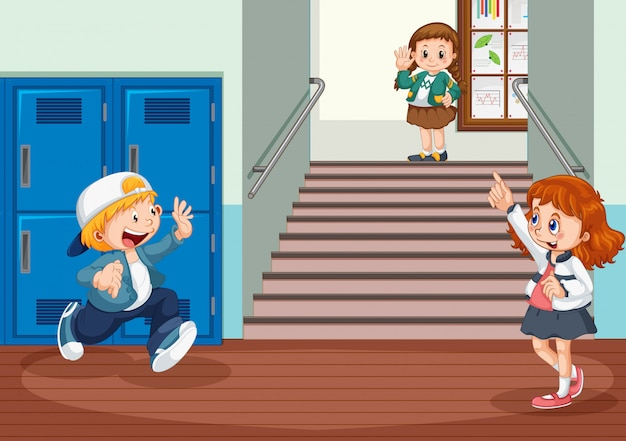 Student at the hallway Free Vector