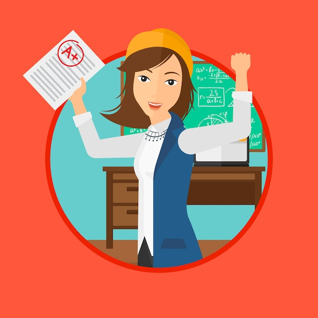 Student holding test paper with best result. Premium Vector