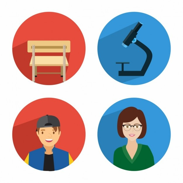 student learning icon set vector free download