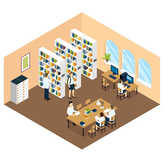 Student library isometric design Free Vector
