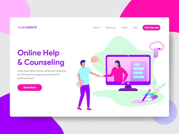 Student online help illustration for web pages Premium Vector
