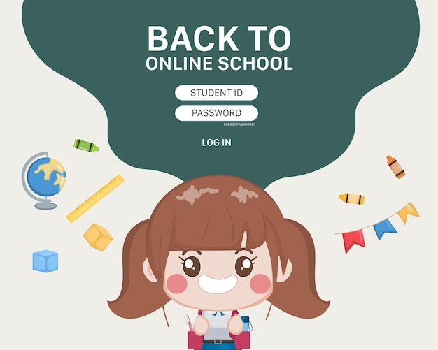 学生オンライン学校教育ログインテンプレート。 無料ベクター