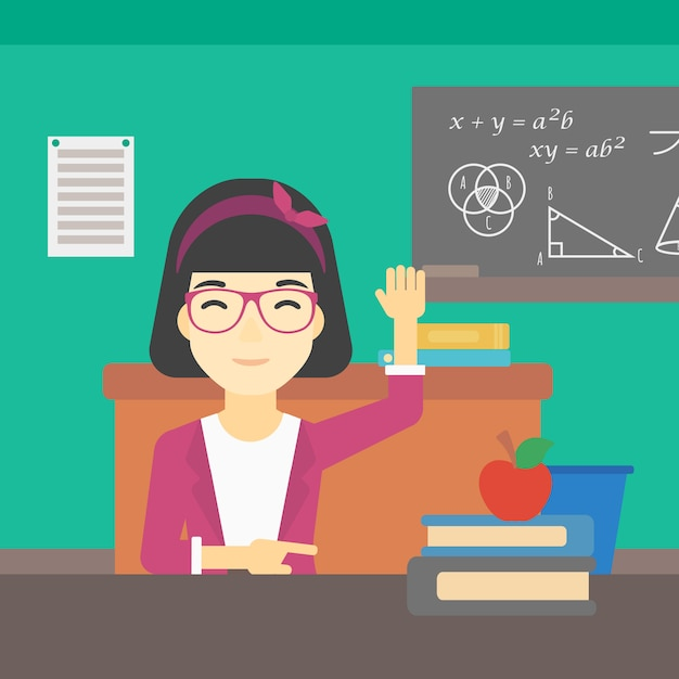 Student raising hand in class for an answer. Premium Vector