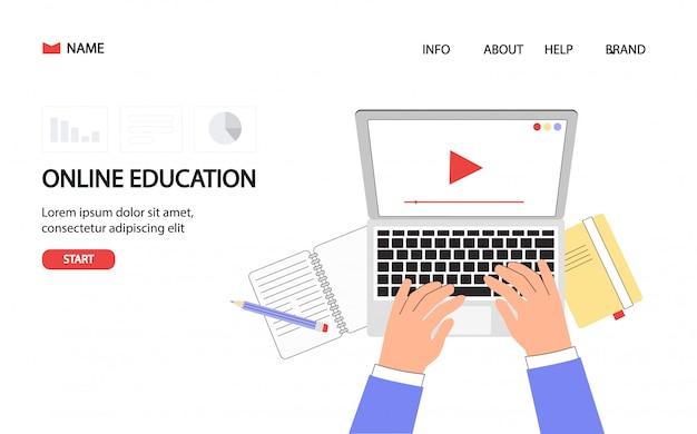 Student's desktop with hand on laptop. online training courses, distance education. Premium Vector