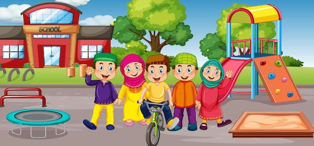 Student at school playground Free Vector
