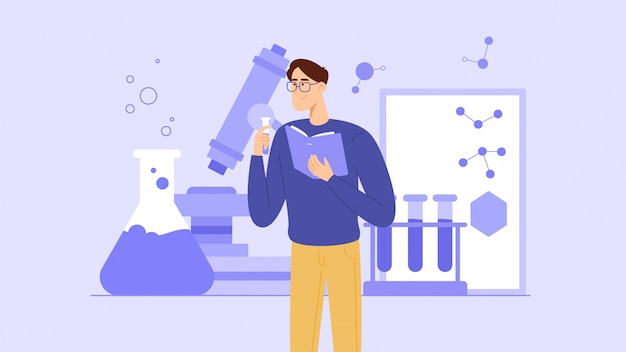 A student or schoolchild studies chemistry from a textbook or conducts experiments. a young teacher is giving a chemistry lesson. Premium Vector