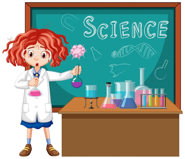 Student in science classroom working with tools Free Vector
