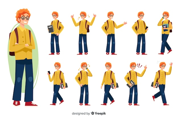 Student set with different postures Free Vector