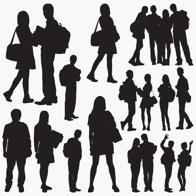 Student silhouettes Premium Vector
