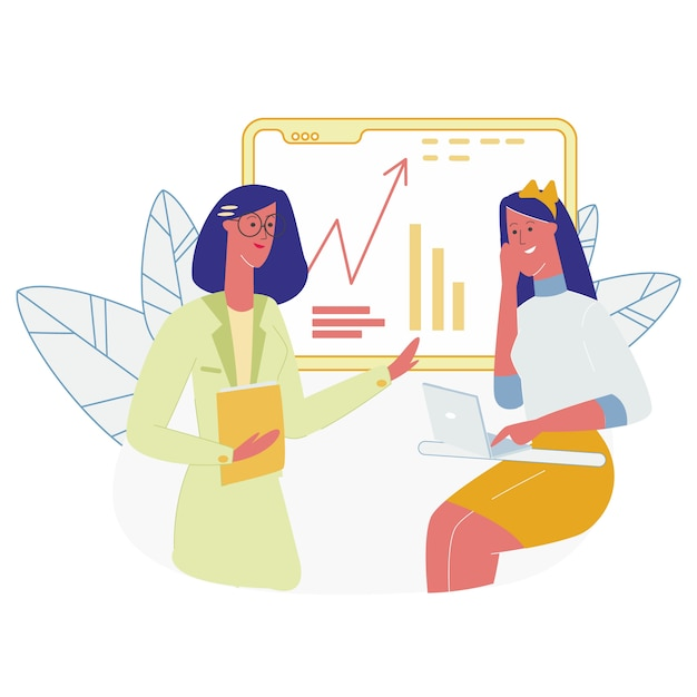 Student sitting in front of blackboard with graphs Premium Vector
