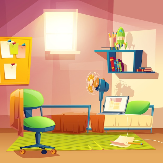 Student small room, cartoon bedroom, dormitory with furniture. Free Vector