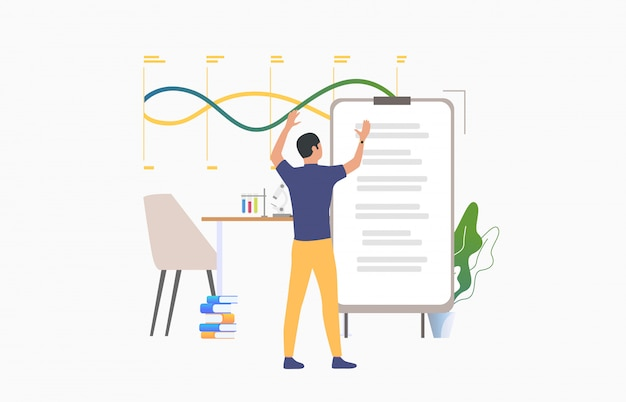 Student standing at flip chart and studying Free Vector