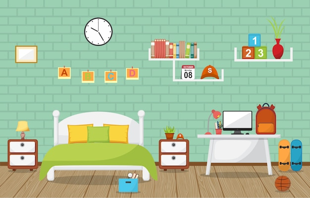 Student study desk table bedroom interior room furniture Premium Vector