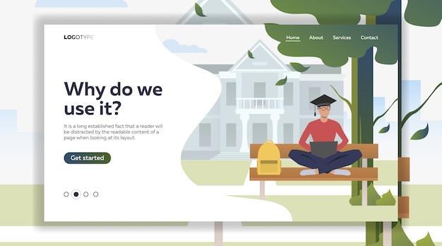 Студент изучает и использует ноутбук на скамейке в кампусном парке Бесплатные векторы