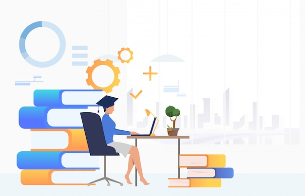 Student studying at desk Free Vector