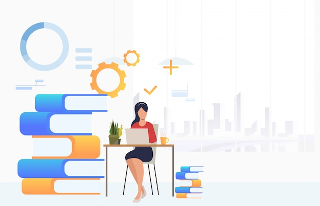 Student studying and using laptop at desk Free Vector