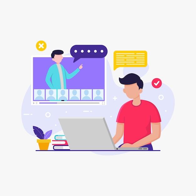 Студент учится с ноутбуком для онлайн-школьного образования Premium векторы