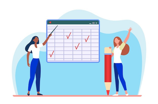 Student and teacher at class. pointing at matrix blackboard, raising hand for answer flat illustration. Free Vector