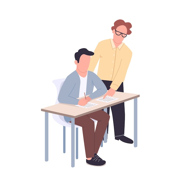 Student and teacher flat color faceless characters. supportive tutor helping pupil isolated cartoon illustration for web graphic design and animation. help with academic education, mentorship Premium Vector
