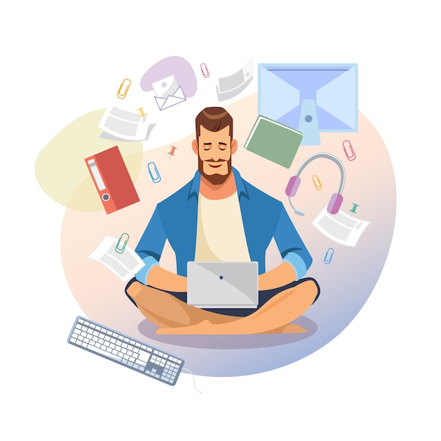 Student use laptop for distance learning vector Premium Vector