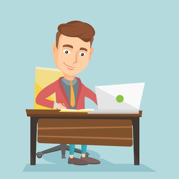 Student using laptop for education. Premium Vector