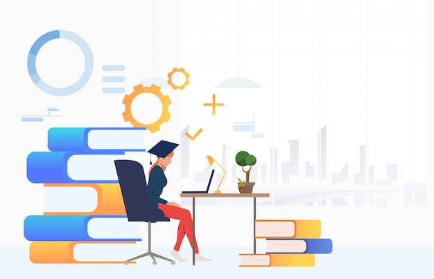 Student using laptop and studying at desk Free Vector