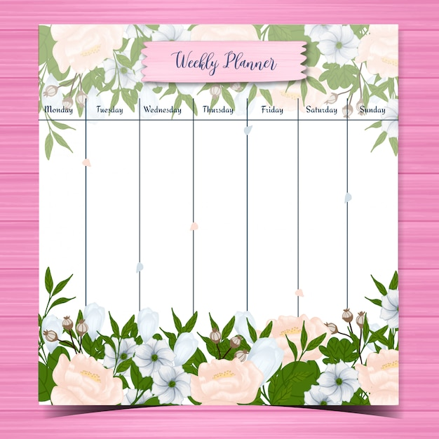 Student weekly planner with gorgeous white flowers Premium Vector