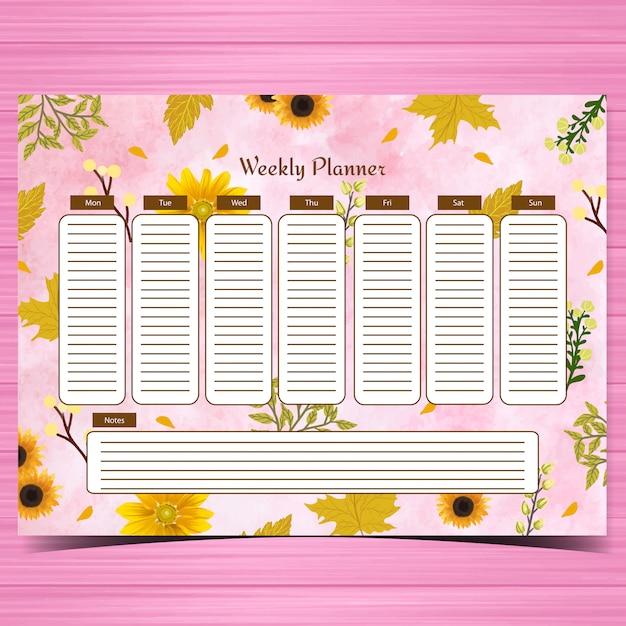 Студенческий еженедельник с великолепными желтыми цветами и абстрактным розовым фоном Premium векторы
