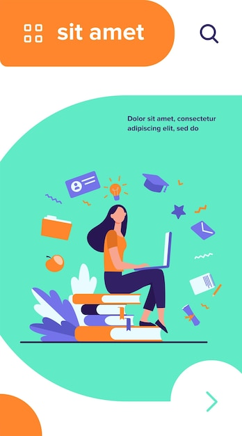 オンラインコースで勉強しているラップトップを持つ学生。本のスタックに座って、コンピューターを使用している女性 無料ベクター
