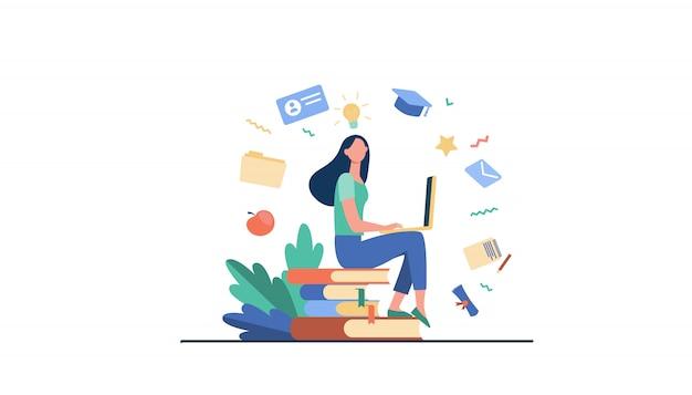 온라인 과정에서 공부하는 노트북과 학생 무료 벡터