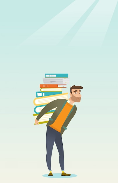 Student with pile of books vector illustration. Premium Vector