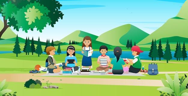生徒たちは公園でレポートを調査するために集まり、協力しています。 Premiumベクター