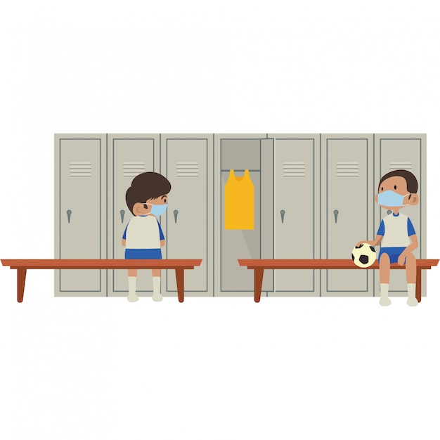 Students are resting in school gym locker room while keep using medical mask and keeping social distance Premium Vector