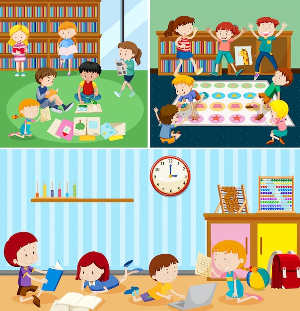 Students at the classroom Free Vector