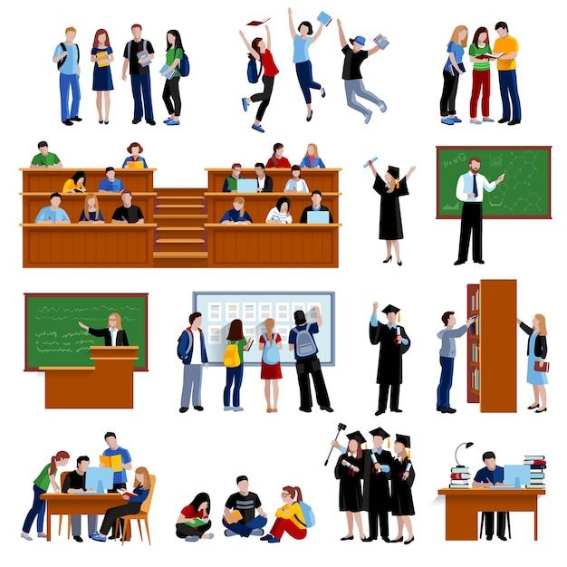 Студенты в университете в библиотеке в зрительном зале Бесплатные векторы