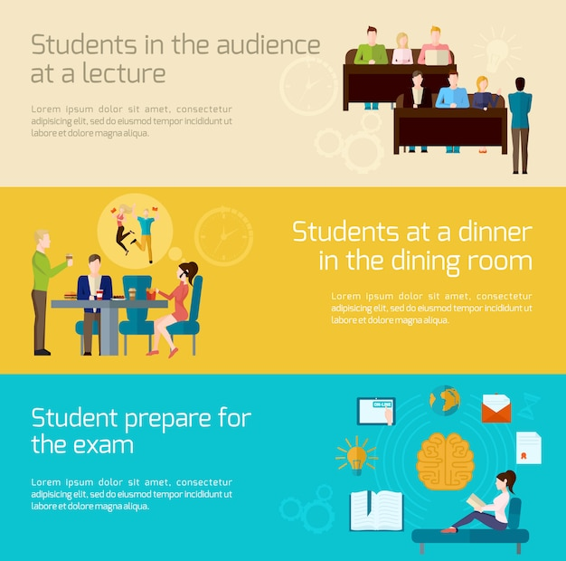 Students banner set Free Vector